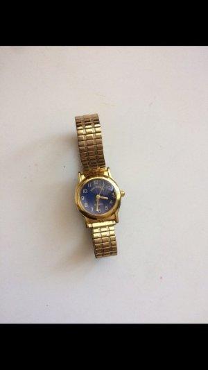 Montre avec bracelet métallique bleu foncé-doré