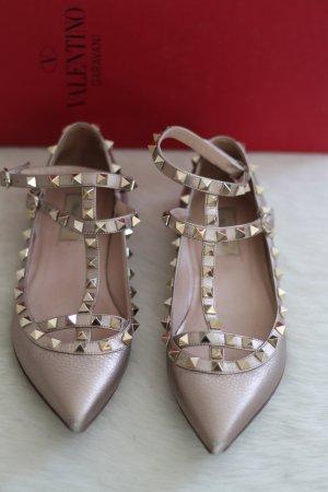 Goldene Valentino Rockstud Flats Ballerinas