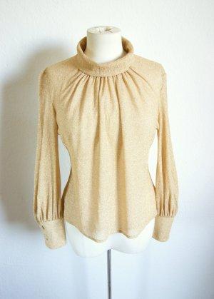 Goldene vintage Bluse mit Turtle Nek, 70er Shirt gerafft, bohemian