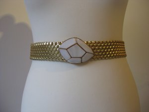 H&M Braided Belt gold-colored-white imitation leather