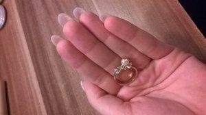 goldener Ring mit Schleife + Perle NEU