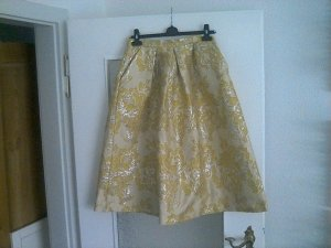 Asos Flared Skirt yellow-silver-colored polyester