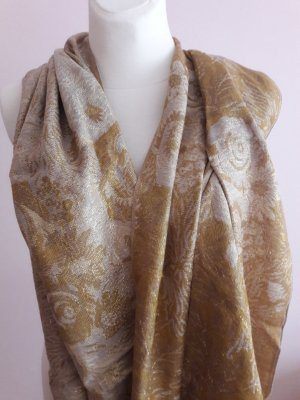 H&M Bufanda de flecos color oro tejido mezclado