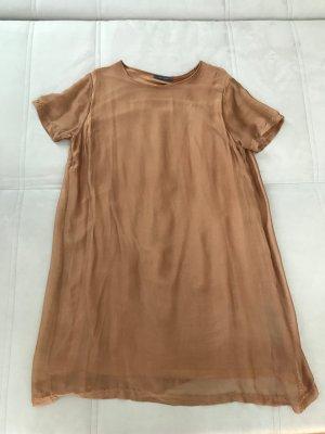 Goldenes / Bronzefarbenes Sommer Seidenkleid, schimmernd fließend und luftig