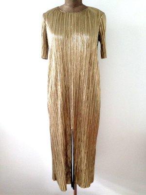 Goldenes Maxikleid aus Plissee von Zara, Gr. M (38/40)