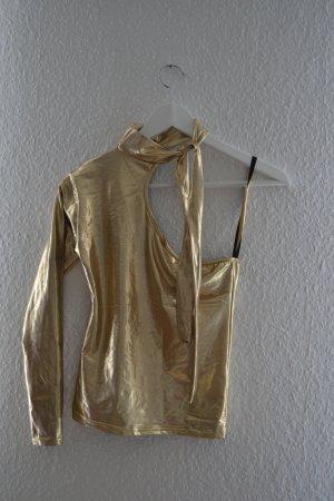 Camisa de un solo hombro color oro