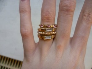 Goldenes Ring-Set, Glitzer, Steine, Perlen, Statement