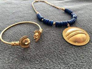 Chaîne en or doré-bleu