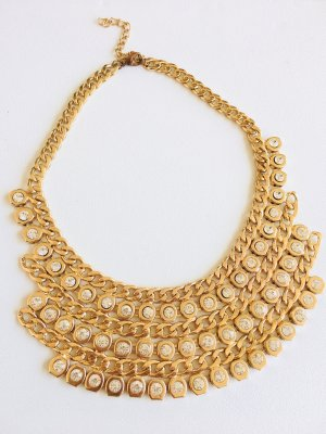 Collier Necklace gold-colored-white metal