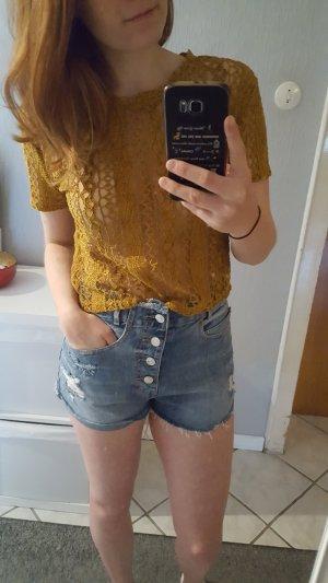 Zara Trafaluc Mesh Shirt gold orange