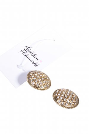 Gold-colored clip earrings with rhinestones