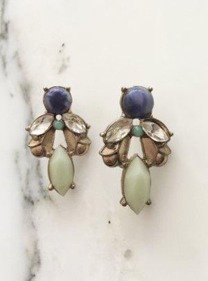 Goldfarbene Ohrringe mit blauen und Türkisen Steinen NEU