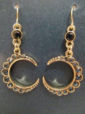 Goldfarbene Ohrringe mit dunkelblauen Ziersteinen