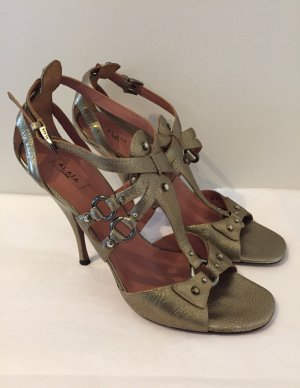 Alaïa High Heel Sandal gold-colored-light brown leather