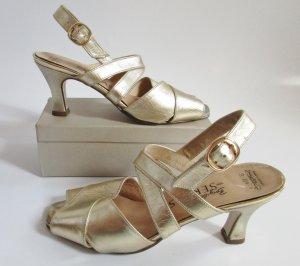 Goldfarbene Sandaletten Brigitte von Servas Größe 4,5 37 echt Leder Sandaen Pumps Tanzschuhe Silvester Glanz Rockabilly