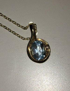 Goldkette 375 mit Blautopas
