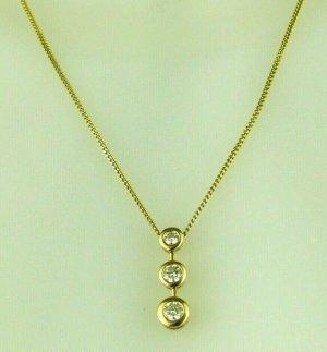 Goldkette von Christ + Anhänger 3 Diamanten 0,45 Karat 585 Gold Collier