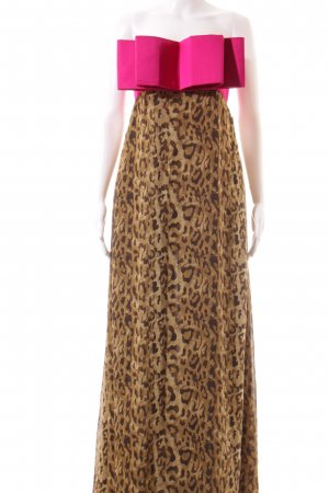 Goldknopf Couture Abendkleid Leomuster Elegant