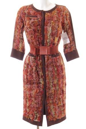 Goldknopf Couture Blusenkleid abstrakter Druck extravaganter Stil