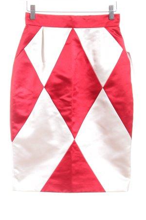 Goldknopf Couture Seidenrock rot-weiß Karomuster extravaganter Stil