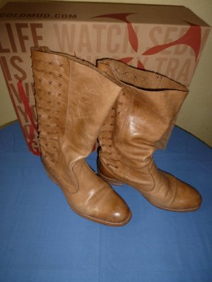 Goldmud - Stiefel aus Leder, in beige - Gr. 40 - in gutem Zustand
