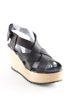 Goldmud Wedges Sandaletten schwarz-beige Colourblocking Street-Fashion-Look
