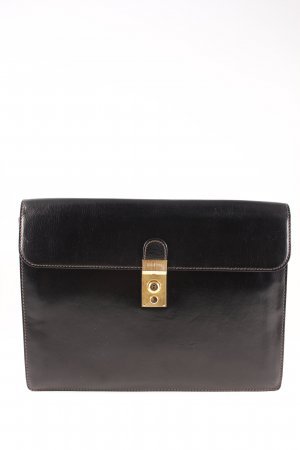 Goldpfeil Briefcase black brown-light brown elegant