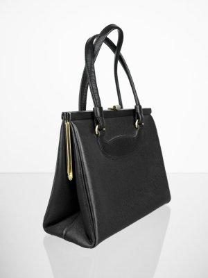 Goldpfeil Vintage Glattleder Handtasche,  Schwarz