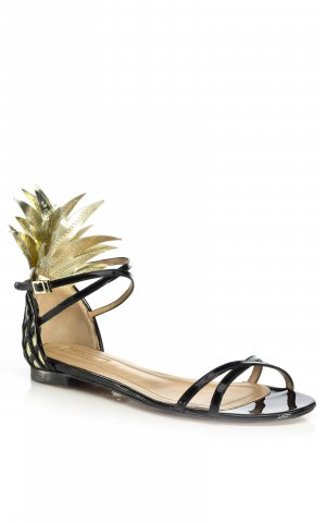 Aquazzura Strapped Sandals black-gold-colored leather