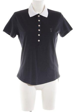 Golfino Polo-Shirt schwarz Schriftzug gestickt Casual-Look