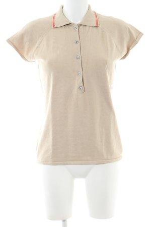 Golfino Polo-Shirt wollweiß-rot Streifenmuster Business-Look