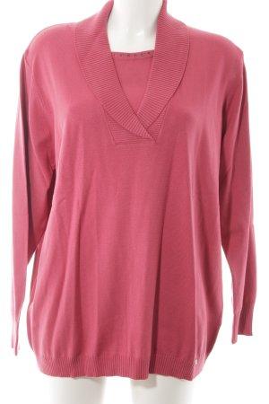 Golle Haug V-Ausschnitt-Pullover magenta minimalistischer Stil
