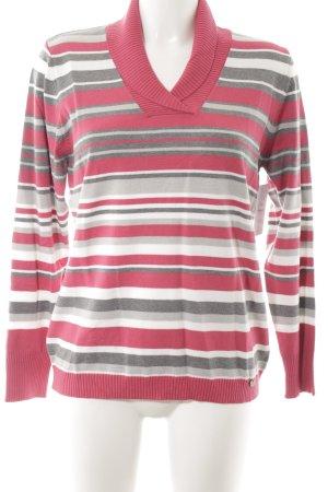 Golle Haug V-Ausschnitt-Pullover Streifenmuster minimalistischer Stil