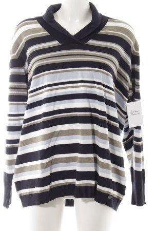 Golle Haug V-Ausschnitt-Pullover Streifenmuster schlichter Stil