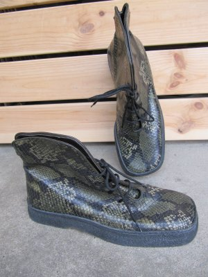 Gommes Vintage Schnürboot Halbstiefel Gr.37 Reptiloptik grün schwarz