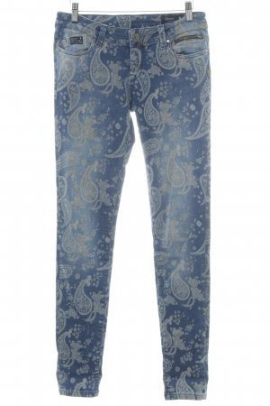 Good Morning Universe Stretch Jeans hellgrau-stahlblau Blumenmuster Jeans-Optik