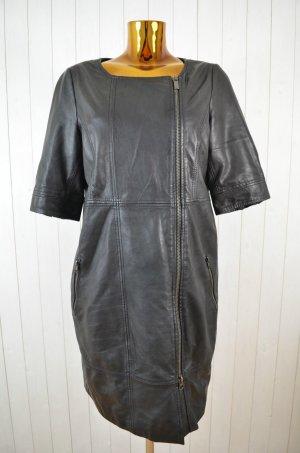 GOOSECRAFT Kleid Lederkleid Leder Schwarz Kurzarm Reißverschluss Gefüttert Gr.XL