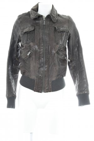 Goosecraft Leather Jacket dark brown casual look