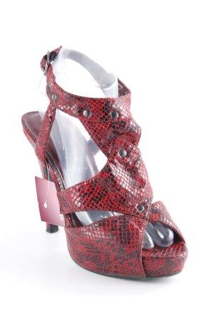 Gorgeous High Heels bordeauxrot-schwarz Animalmuster Reptil-Optik