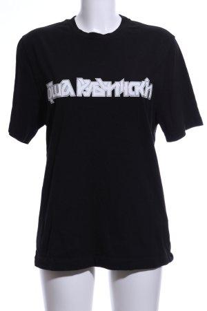 Gosha Oversized Shirt schwarz-weiß Schriftzug gedruckt Casual-Look