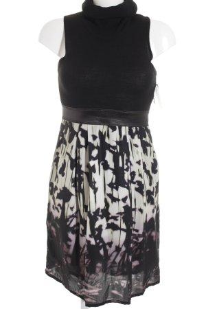 gotha Wollkleid schwarz-hellbeige abstraktes Muster extravaganter Stil
