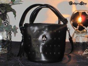 Gothic Bag Vintage Style Totenkopf Nieten schwarz mit Quaste Damen Tasche