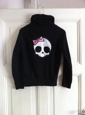 gothic Cardigan Strickjacke in schwarz mit süßen Skull Aufnähern