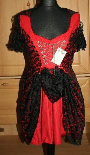 Gothic Dirndl rot/schwarz Gr. S/36. Neu