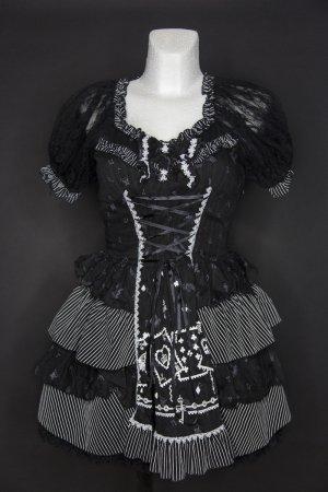 Petticoatjurk zwart-wit Polyester