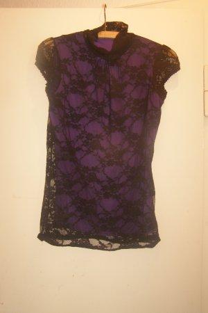 Gothic Spitzenshirt lila schwarz