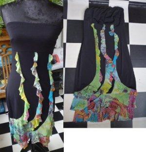 Gr. 34/36 schwarz buntes sexy Kleid trägerlos, dehnbar, sehr guter Zustand