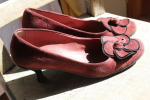 Escarpins Mary Jane violet-rouge carmin cuir