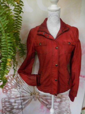 Ann Christine Faux Leather Jacket red imitation leather