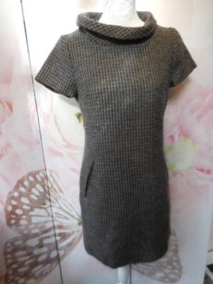 Gr 36 38 Braun beige blaugrau kurzes Kleid mit 37% Wolle, gefüttert, ist vorne nicht aufgehellt das kommt vom Lichteinfall auf dem Foto